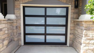 Small Modern Classic brown garage door with glass